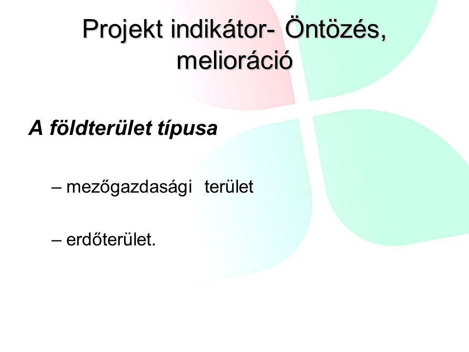Projekt indikátor- Öntözés, melioráció A földterület típusa –mezőgazdasági terület –erdőterület.