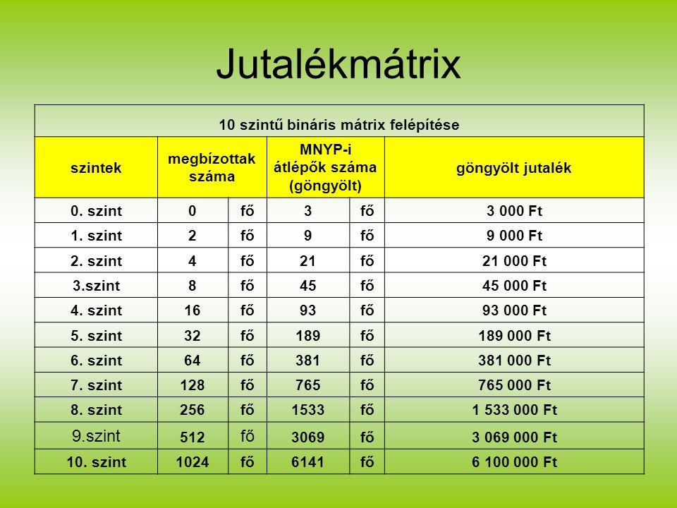Jutalékmátrix 10 szintű bináris mátrix felépítése szintek megbízottak száma MNYP-i átlépők száma (göngyölt) göngyölt jutalék 0.