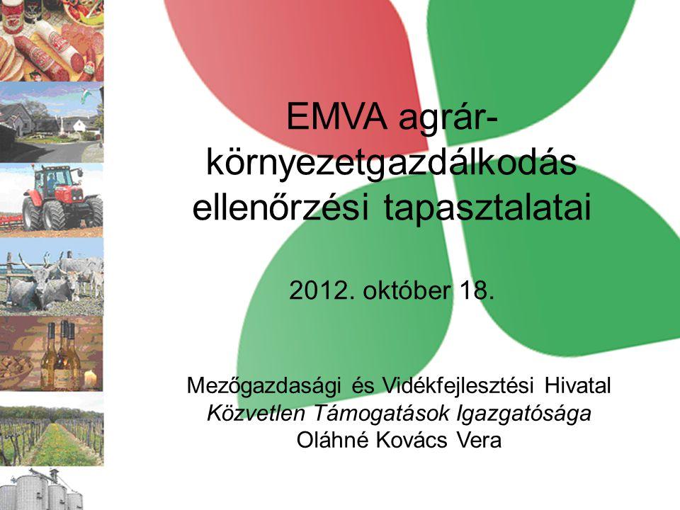 EMVA agrár- környezetgazdálkodás ellenőrzési tapasztalatai 2012. október 18. Mezőgazdasági és Vidékfejlesztési Hivatal Közvetlen Támogatások Igazgatós