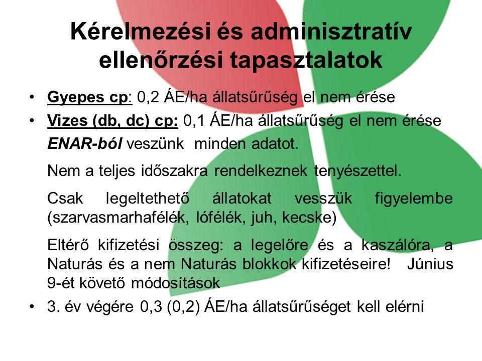 Kérelmezési és adminisztratív ellenőrzési tapasztalatok Gyepes cp: 0,2 ÁE/ha állatsűrűség el nem érése Vizes (db, dc) cp: 0,1 ÁE/ha állatsűrűség el ne