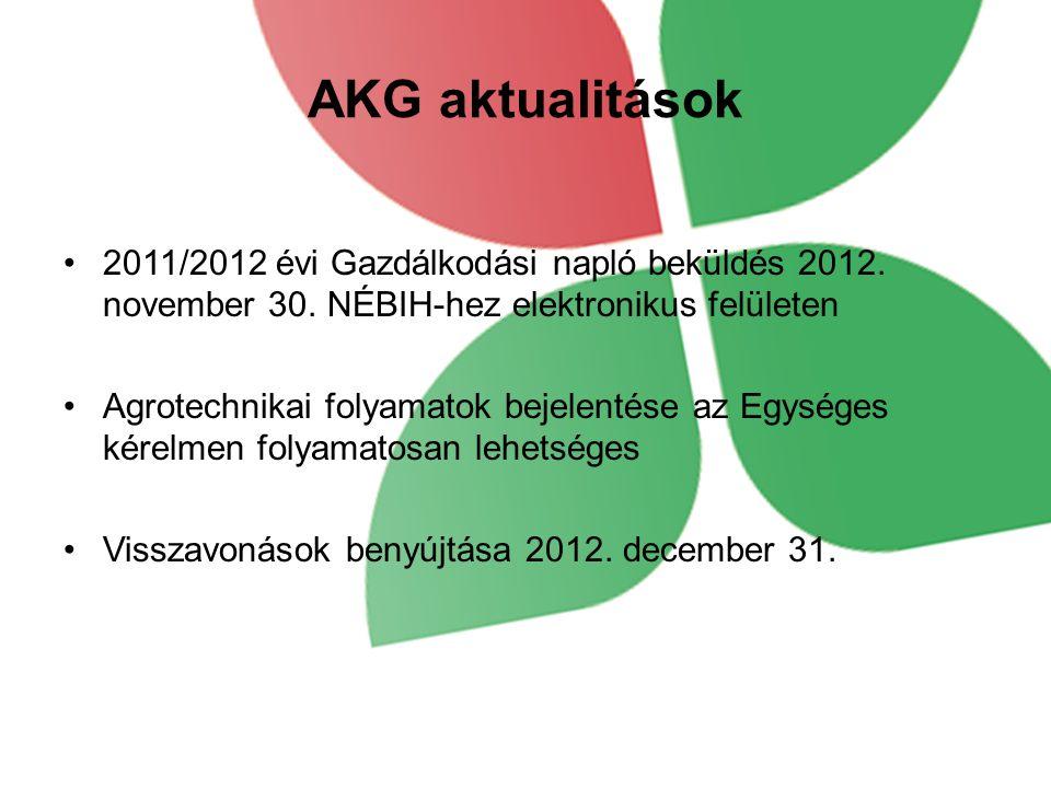 AKG aktualitások 2011/2012 évi Gazdálkodási napló beküldés 2012. november 30. NÉBIH-hez elektronikus felületen Agrotechnikai folyamatok bejelentése az