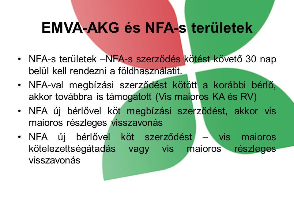 EMVA-AKG és NFA-s területek NFA-s területek –NFA-s szerződés kötést követő 30 nap belül kell rendezni a földhasználatit. NFA-val megbízási szerződést