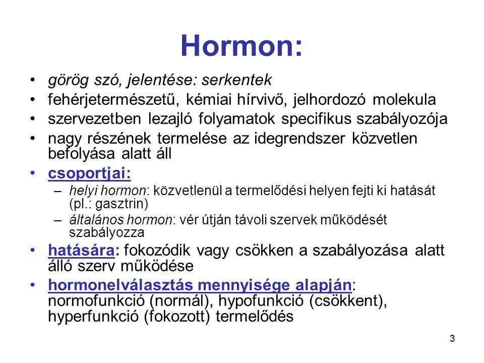 3 Hormon: görög szó, jelentése: serkentek fehérjetermészetű, kémiai hírvivő, jelhordozó molekula szervezetben lezajló folyamatok specifikus szabályozó