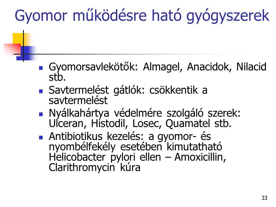 33 Gyomor működésre ható gyógyszerek Gyomorsavlekötők: Almagel, Anacidok, Nilacid stb. Savtermelést gátlók: csökkentik a savtermelést Nyálkahártya véd