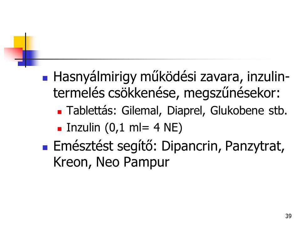 39 Hasnyálmirigy működési zavara, inzulin- termelés csökkenése, megszűnésekor: Tablettás: Gilemal, Diaprel, Glukobene stb. Inzulin (0,1 ml= 4 NE) Emés