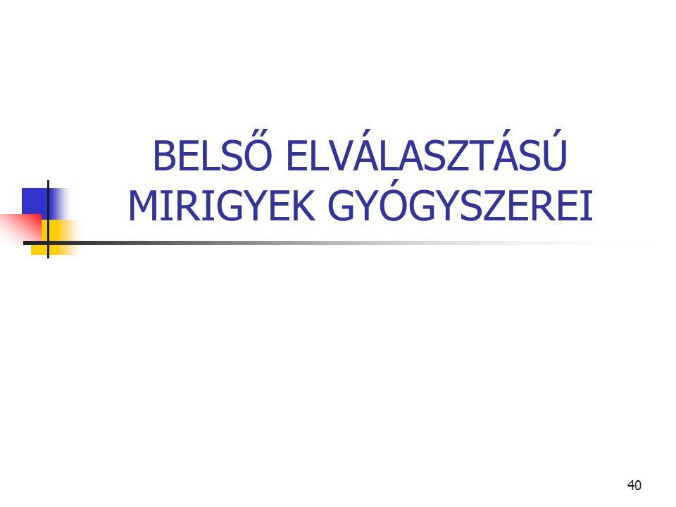 40 BELSŐ ELVÁLASZTÁSÚ MIRIGYEK GYÓGYSZEREI