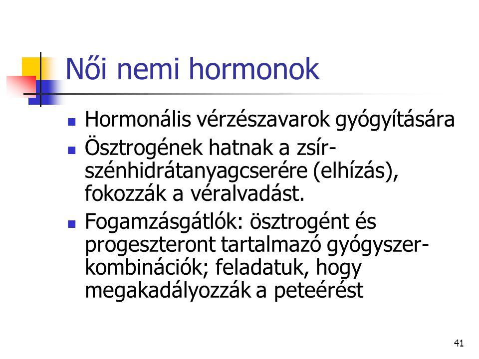41 Női nemi hormonok Hormonális vérzészavarok gyógyítására Ösztrogének hatnak a zsír- szénhidrátanyagcserére (elhízás), fokozzák a véralvadást. Fogamz