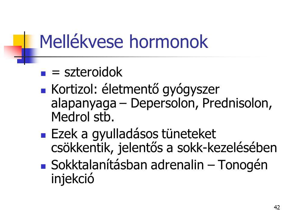 42 Mellékvese hormonok = szteroidok Kortizol: életmentő gyógyszer alapanyaga – Depersolon, Prednisolon, Medrol stb. Ezek a gyulladásos tüneteket csökk