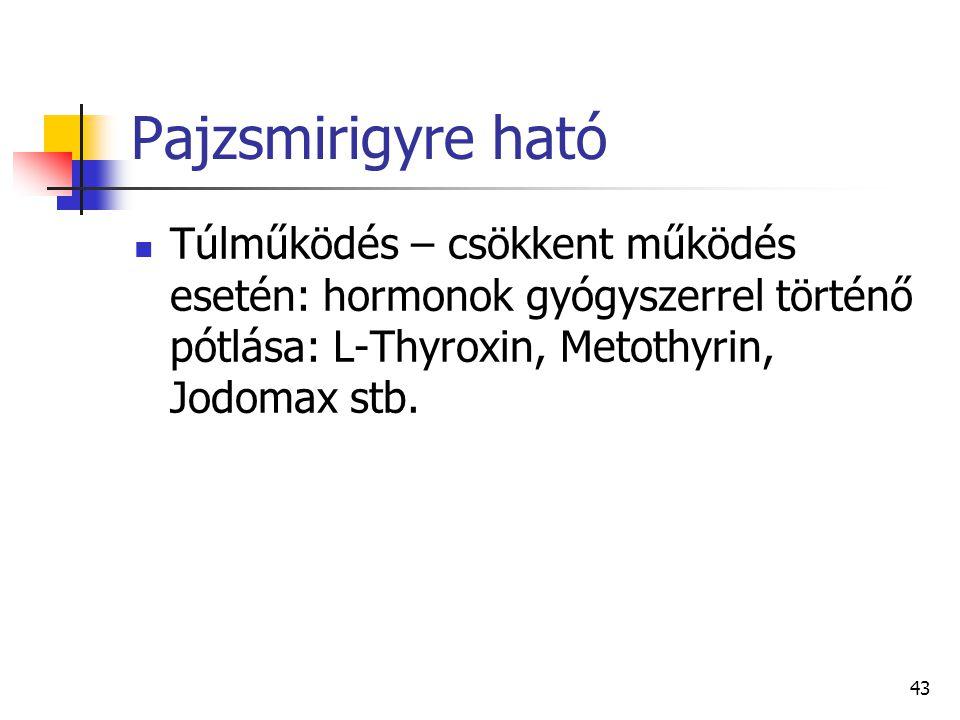 43 Pajzsmirigyre ható Túlműködés – csökkent működés esetén: hormonok gyógyszerrel történő pótlása: L-Thyroxin, Metothyrin, Jodomax stb.