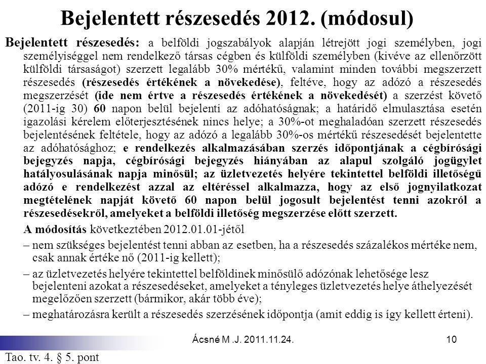 Ácsné M.J. 2011.11.24.10 Bejelentett részesedés 2012. (módosul) Bejelentett részesedés: a belföldi jogszabályok alapján létrejött jogi személyben, jog