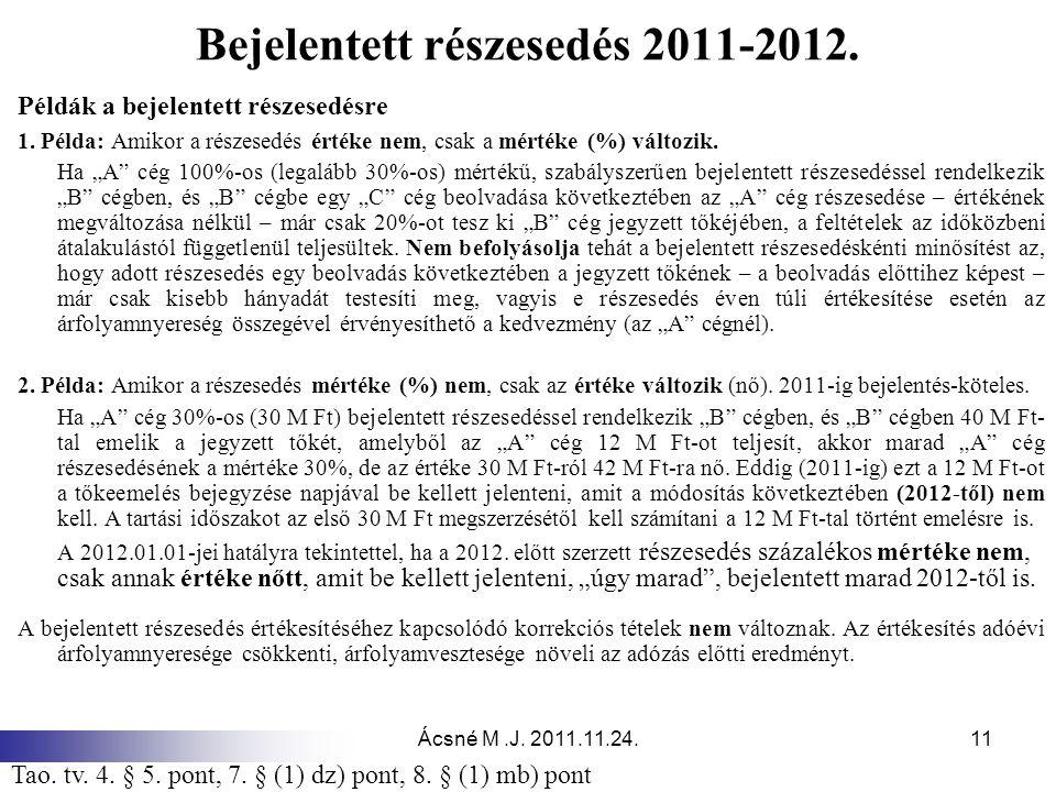 Ácsné M.J. 2011.11.24.11 Bejelentett részesedés 2011-2012. Példák a bejelentett részesedésre 1. Példa: Amikor a részesedés értéke nem, csak a mértéke