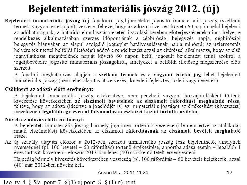 Ácsné M.J. 2011.11.24.12 Bejelentett immateriális jószág 2012. (új) Bejelentett immateriális jószág (új fogalom): jogdíjbevételre jogosító immateriáli