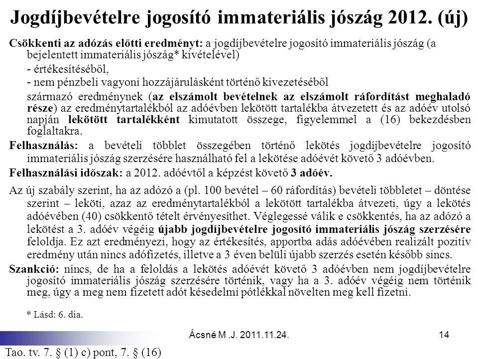 Ácsné M.J. 2011.11.24.14 Jogdíjbevételre jogosító immateriális jószág 2012. (új) Csökkenti az adózás előtti eredményt: a jogdíjbevételre jogosító imma