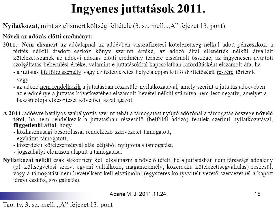 """Ácsné M.J. 2011.11.24.15 Ingyenes juttatások 2011. Nyilatkozat, mint az elismert költség feltétele (3. sz. mell. """"A"""" fejezet 13. pont). Növeli az adóz"""