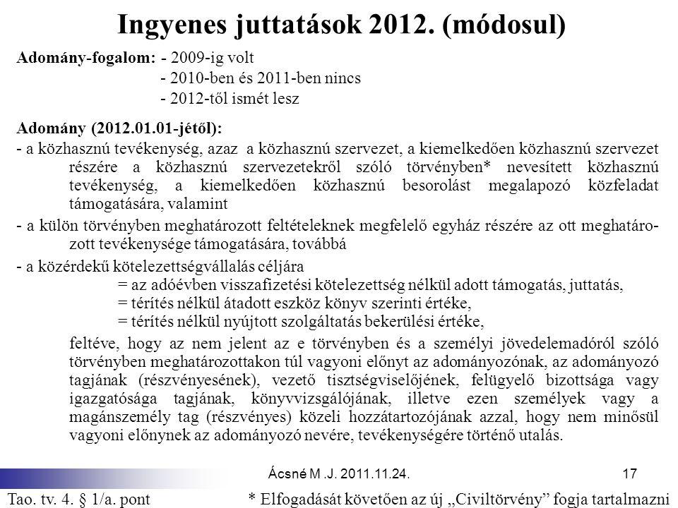 Ácsné M.J. 2011.11.24.17 Ingyenes juttatások 2012. (módosul) Adomány-fogalom: - 2009-ig volt - 2010-ben és 2011-ben nincs - 2012-től ismét lesz Adomán