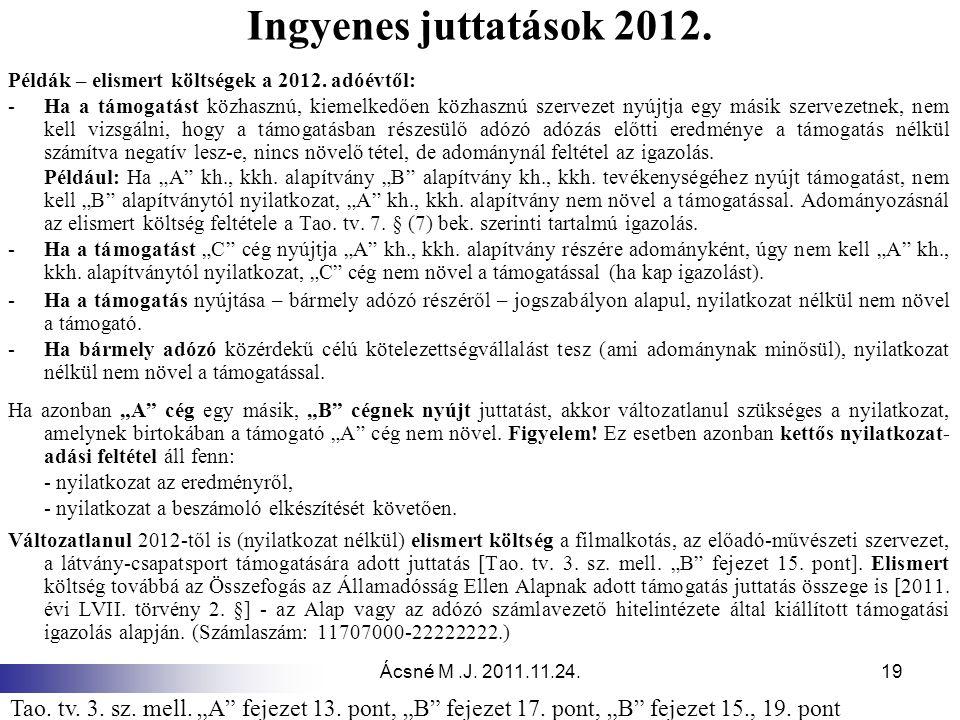 Ácsné M.J. 2011.11.24.19 Ingyenes juttatások 2012. Példák – elismert költségek a 2012. adóévtől: -Ha a támogatást közhasznú, kiemelkedően közhasznú sz