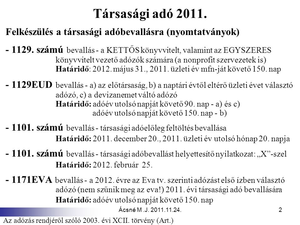 Ácsné M.J. 2011.11.24.2 Társasági adó 2011. Felkészülés a társasági adóbevallásra (nyomtatványok) - 1129. számú bevallás - a KETTŐS könyvvitelt, valam