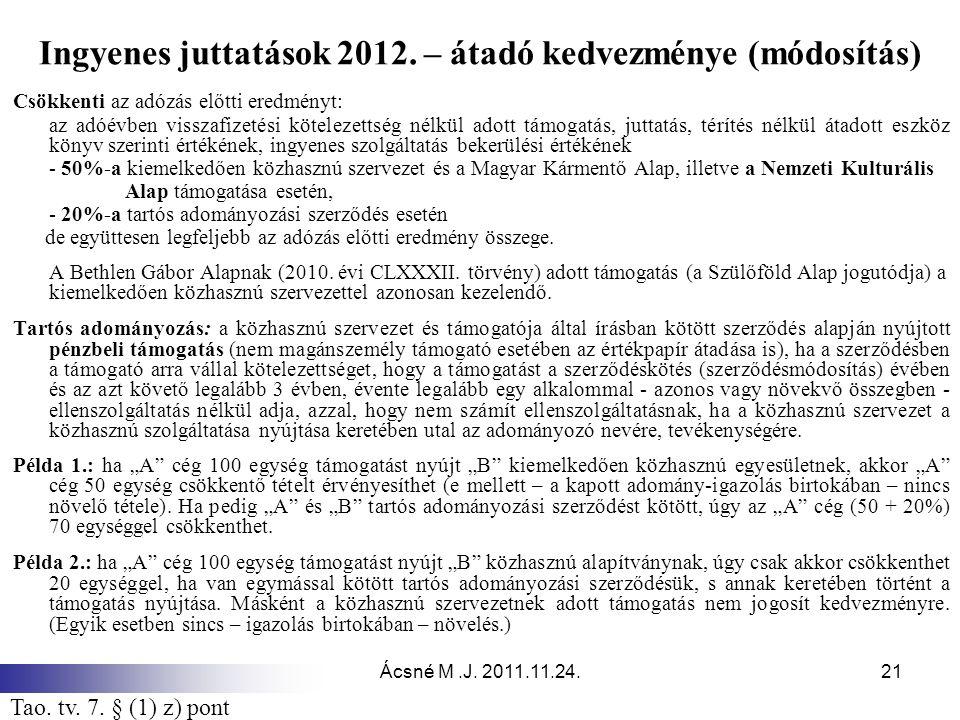 Ácsné M.J. 2011.11.24.21 Ingyenes juttatások 2012. – átadó kedvezménye (módosítás) Csökkenti az adózás előtti eredményt: az adóévben visszafizetési kö