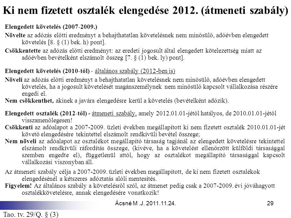 Ácsné M.J. 2011.11.24.29 Ki nem fizetett osztalék elengedése 2012. (átmeneti szabály) Elengedett követelés (2007-2009.) Növelte az adózás előtti eredm