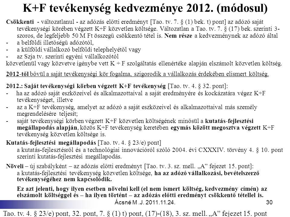 Ácsné M.J. 2011.11.24.30 K+F tevékenység kedvezménye 2012. (módosul) Csökkenti - változatlanul - az adózás előtti eredményt [Tao. tv. 7. § (1) bek. t)