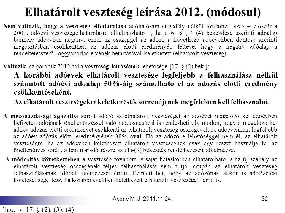 Ácsné M.J. 2011.11.24.32 Elhatárolt veszteség leírása 2012. (módosul) Nem változik, hogy a veszteség elhatárolása adóhatósági engedély nélkül történhe