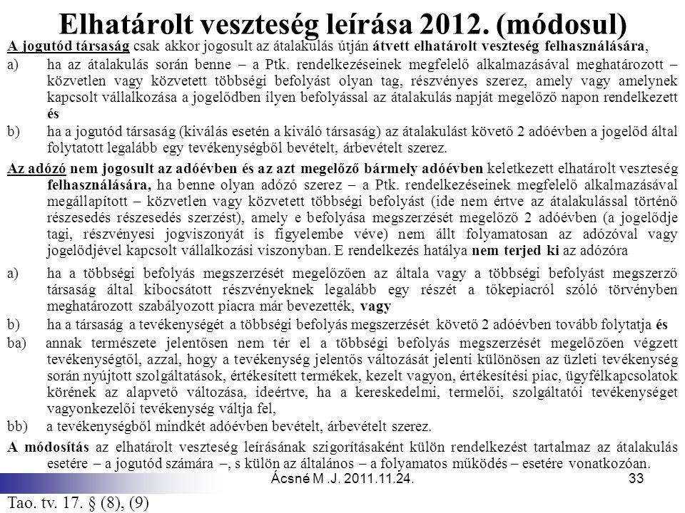Ácsné M.J. 2011.11.24.33 Elhatárolt veszteség leírása 2012. (módosul) A jogutód társaság csak akkor jogosult az átalakulás útján átvett elhatárolt ves
