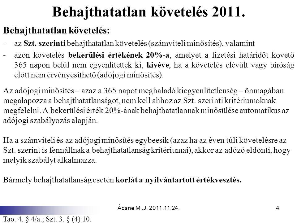 Ácsné M.J. 2011.11.24.4 Behajthatatlan követelés 2011. Behajthatatlan követelés: -az Szt. szerinti behajthatatlan követelés (számviteli minősítés), va