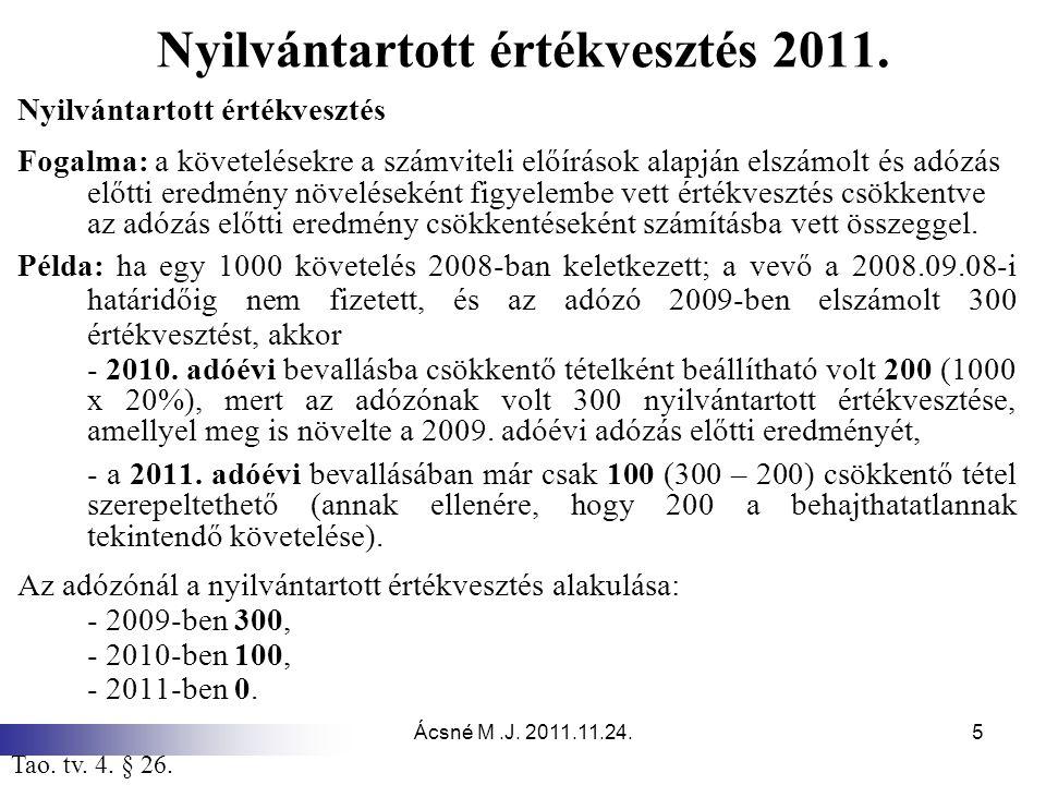Ácsné M.J. 2011.11.24.5 Nyilvántartott értékvesztés 2011. Nyilvántartott értékvesztés Fogalma: a követelésekre a számviteli előírások alapján elszámol