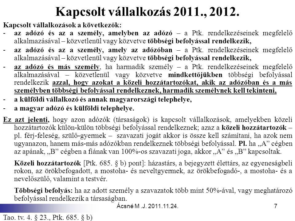 Ácsné M.J. 2011.11.24.7 Kapcsolt vállalkozás 2011., 2012. Kapcsolt vállalkozások a következők: -az adózó és az a személy, amelyben az adózó – a Ptk. r