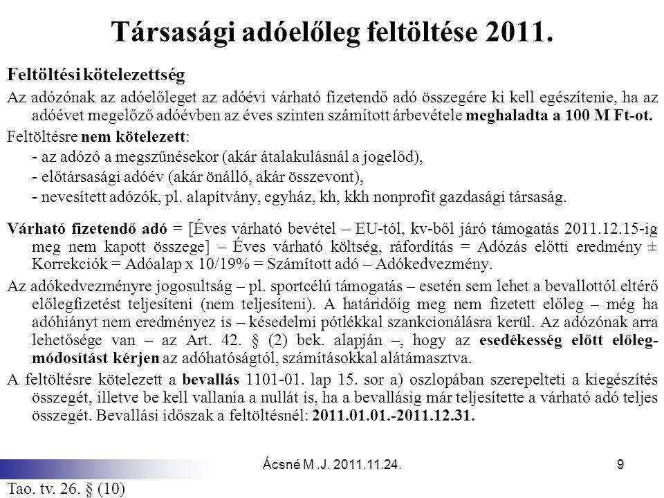 Ácsné M.J. 2011.11.24.9 Társasági adóelőleg feltöltése 2011. Feltöltési kötelezettség Az adózónak az adóelőleget az adóévi várható fizetendő adó össze