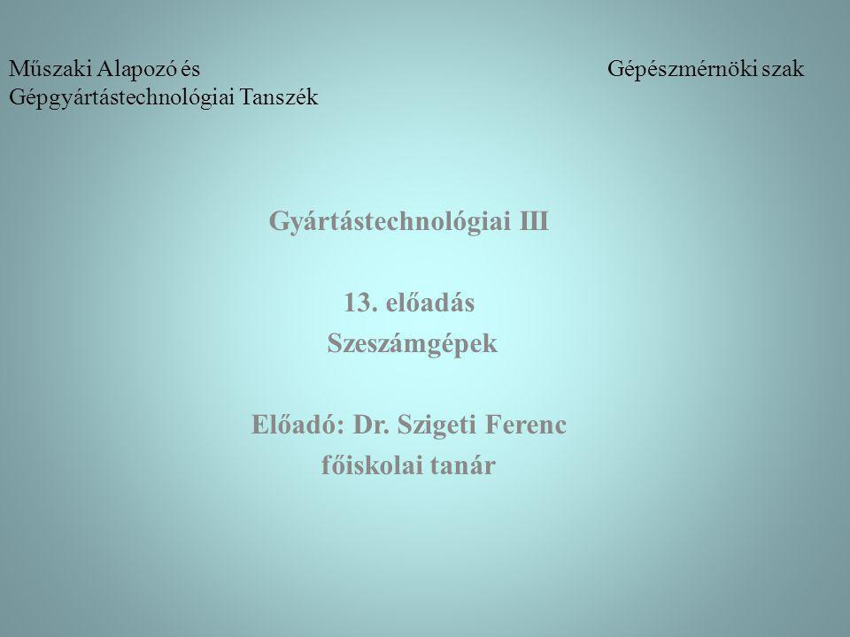 Műszaki Alapozó és Gépészmérnöki szak Gépgyártástechnológiai Tanszék Gyártástechnológiai III 13. előadás Szeszámgépek Előadó: Dr. Szigeti Ferenc főisk