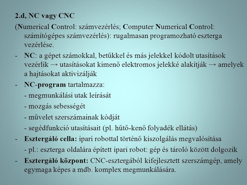 2.d, NC vagy CNC (Numerical Control: számvezérlés; Computer Numerical Control: számítógépes számvezérlés): rugalmasan programozható eszterga vezérlése
