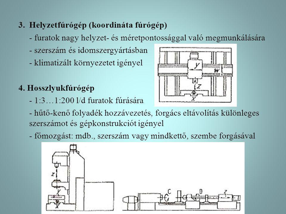 3.Helyzetfúrógép (koordináta fúrógép) - furatok nagy helyzet- és méretpontossággal való megmunkálására - szerszám és idomszergyártásban - klimatizált