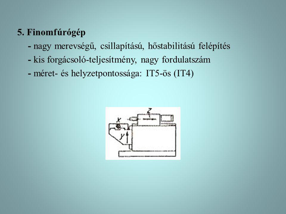 5. Finomfúrógép - nagy merevségű, csillapítású, hőstabilitású felépítés - kis forgácsoló-teljesítmény, nagy fordulatszám - méret- és helyzetpontossága