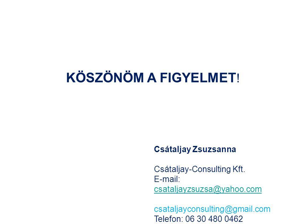 Csátaljay Zsuzsanna Csátaljay-Consulting Kft. E-mail: csataljayzsuzsa@yahoo.com csataljayzsuzsa@yahoo.com csataljayconsulting@gmail.com Telefon: 06 30