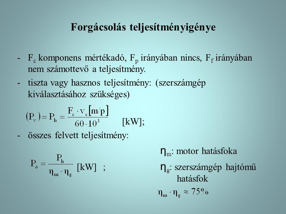 Forgácsolás teljesítményigénye -F c komponens mértékadó, F p irányában nincs, F f irányában nem számottevő a teljesítmény.