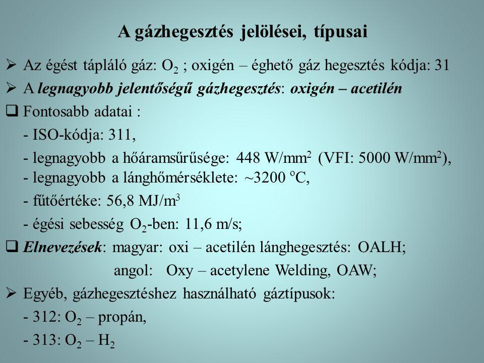 A gázhegesztés jelölései, típusai  Az égést tápláló gáz: O 2 ; oxigén – éghető gáz hegesztés kódja: 31  A legnagyobb jelentőségű gázhegesztés: oxigén – acetilén  Fontosabb adatai : - ISO-kódja: 311, - legnagyobb a hőáramsűrűsége: 448 W/mm 2 (VFI: 5000 W/mm 2 ), - legnagyobb a lánghőmérséklete: ~3200 o C, - fűtőértéke: 56,8 MJ/m 3 - égési sebesség O 2 -ben: 11,6 m/s;  Elnevezések: magyar: oxi – acetilén lánghegesztés: OALH; angol: Oxy – acetylene Welding, OAW;  Egyéb, gázhegesztéshez használható gáztípusok: - 312: O 2 – propán, - 313: O 2 – H 2