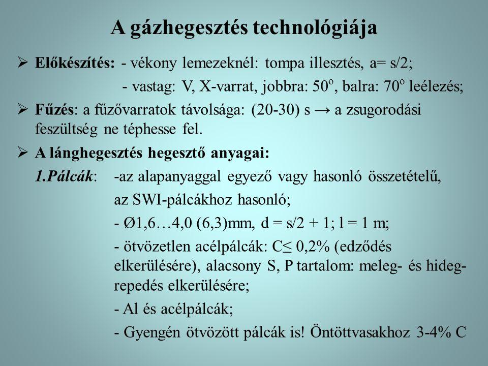 A gázhegesztés technológiája  Előkészítés: - vékony lemezeknél: tompa illesztés, a= s/2; - vastag: V, X-varrat, jobbra: 50 o, balra: 70 o leélezés;  Fűzés: a fűzővarratok távolsága: (20-30) s → a zsugorodási feszültség ne téphesse fel.