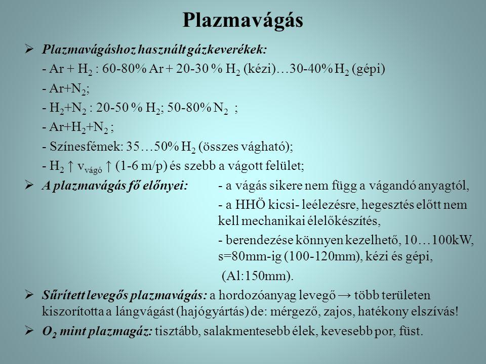 Plazmavágás  Plazmavágáshoz használt gázkeverékek: - Ar + H 2 : 60-80% Ar + 20-30 % H 2 (kézi)…30-40% H 2 (gépi) - Ar+N 2 ; - H 2 +N 2 : 20-50 % H 2