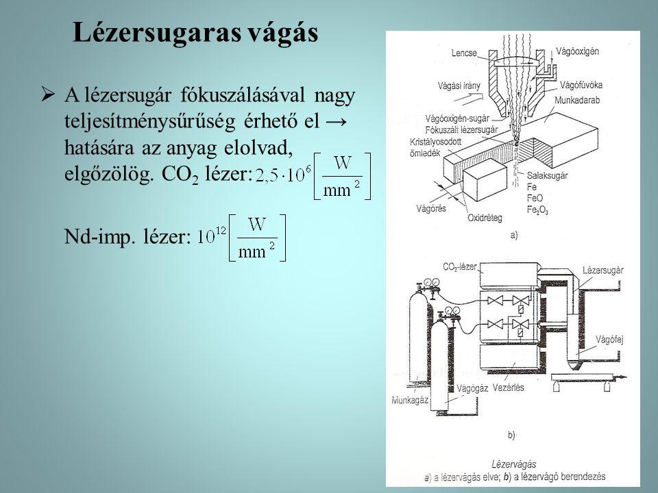 Lézersugaras vágás  A lézersugár fókuszálásával nagy teljesítménysűrűség érhető el → hatására az anyag elolvad, elgőzölög. CO 2 lézer: Nd-imp. lézer: