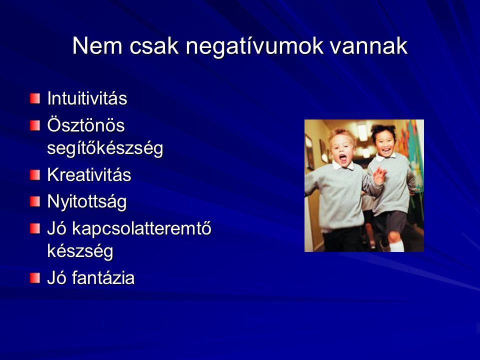 Nem csak negatívumok vannak Intuitivitás Ösztönös segítőkészség KreativitásNyitottság Jó kapcsolatteremtő készség Jó fantázia