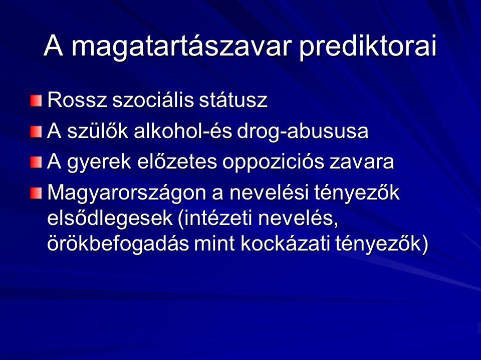 A magatartászavar prediktorai Rossz szociális státusz A szülők alkohol-és drog-abususa A gyerek előzetes oppoziciós zavara Magyarországon a nevelési t