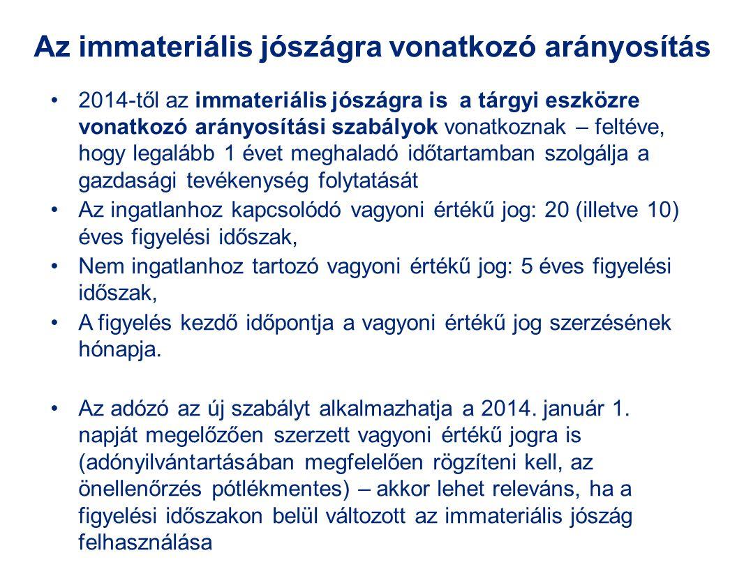 Az immateriális jószágra vonatkozó arányosítás 2014-től az immateriális jószágra is a tárgyi eszközre vonatkozó arányosítási szabályok vonatkoznak – f