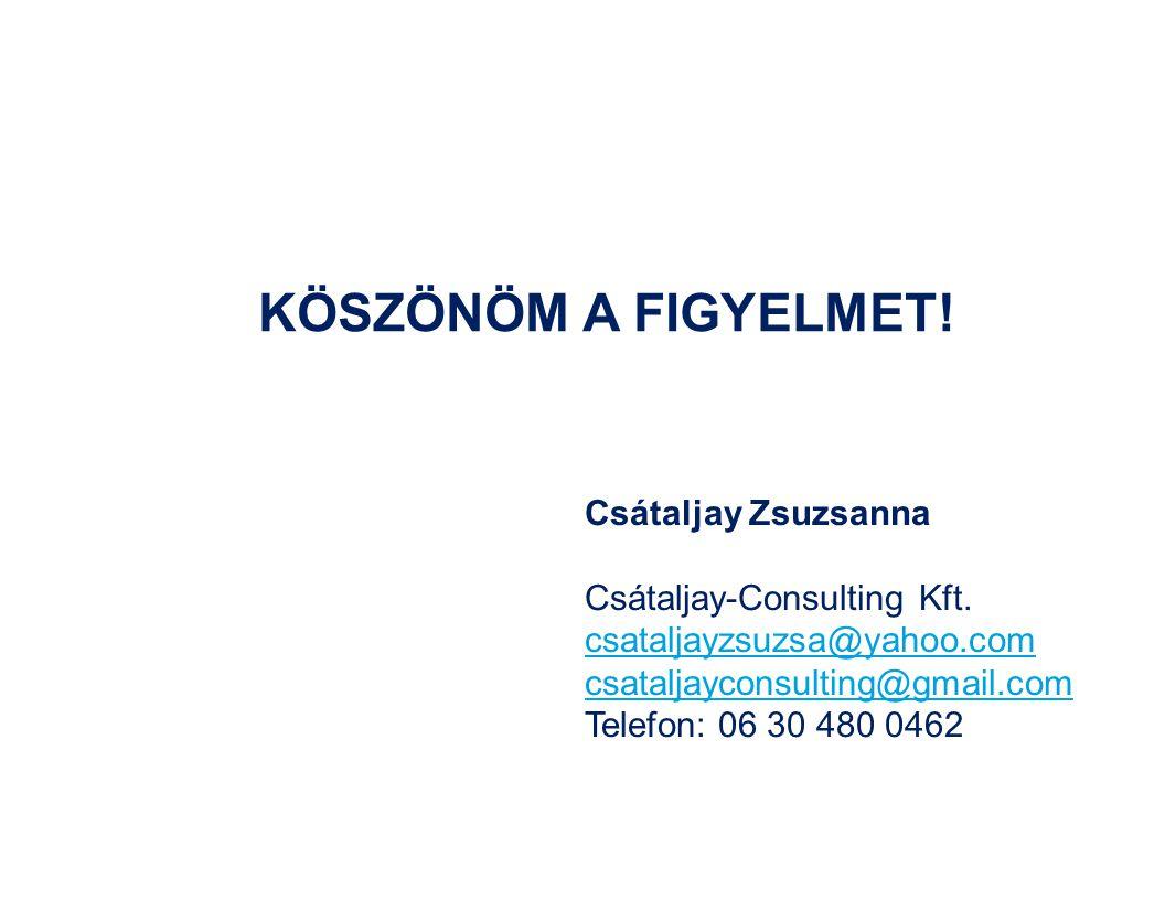 Csátaljay Zsuzsanna Csátaljay-Consulting Kft. csataljayzsuzsa@yahoo.com csataljayconsulting@gmail.com Telefon: 06 30 480 0462 KÖSZÖNÖM A FIGYELMET!