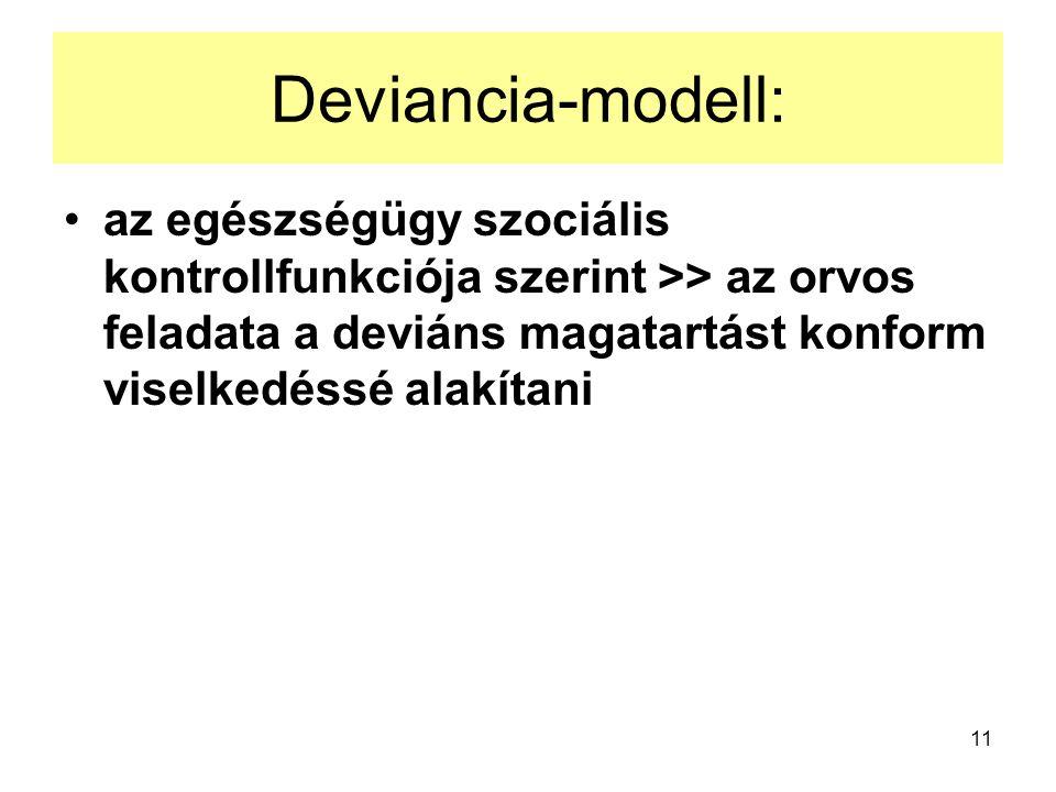 11 Deviancia-modell: az egészségügy szociális kontrollfunkciója szerint >> az orvos feladata a deviáns magatartást konform viselkedéssé alakítani