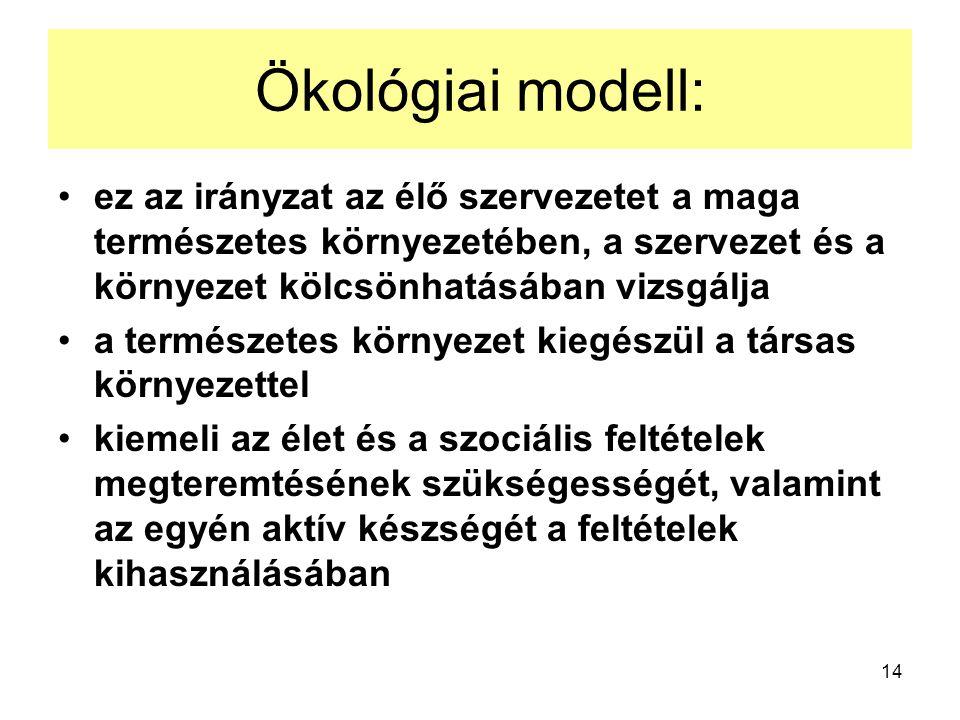 14 Ökológiai modell: ez az irányzat az élő szervezetet a maga természetes környezetében, a szervezet és a környezet kölcsönhatásában vizsgálja a termé