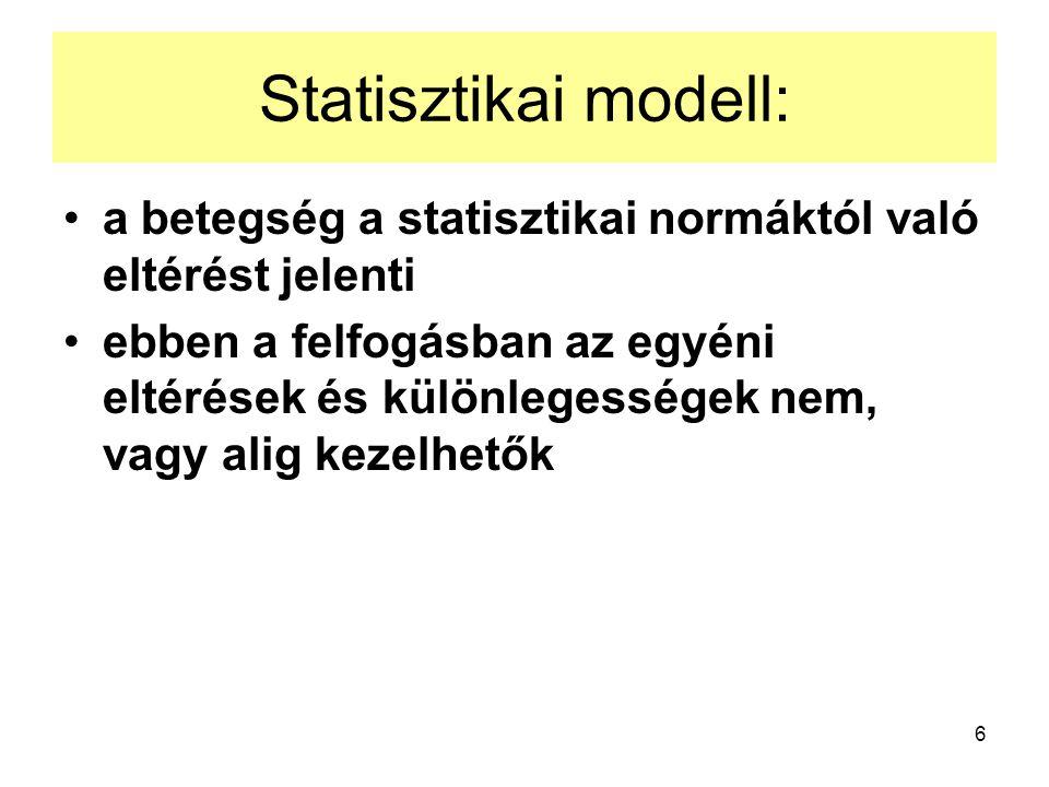 6 Statisztikai modell: a betegség a statisztikai normáktól való eltérést jelenti ebben a felfogásban az egyéni eltérések és különlegességek nem, vagy alig kezelhetők
