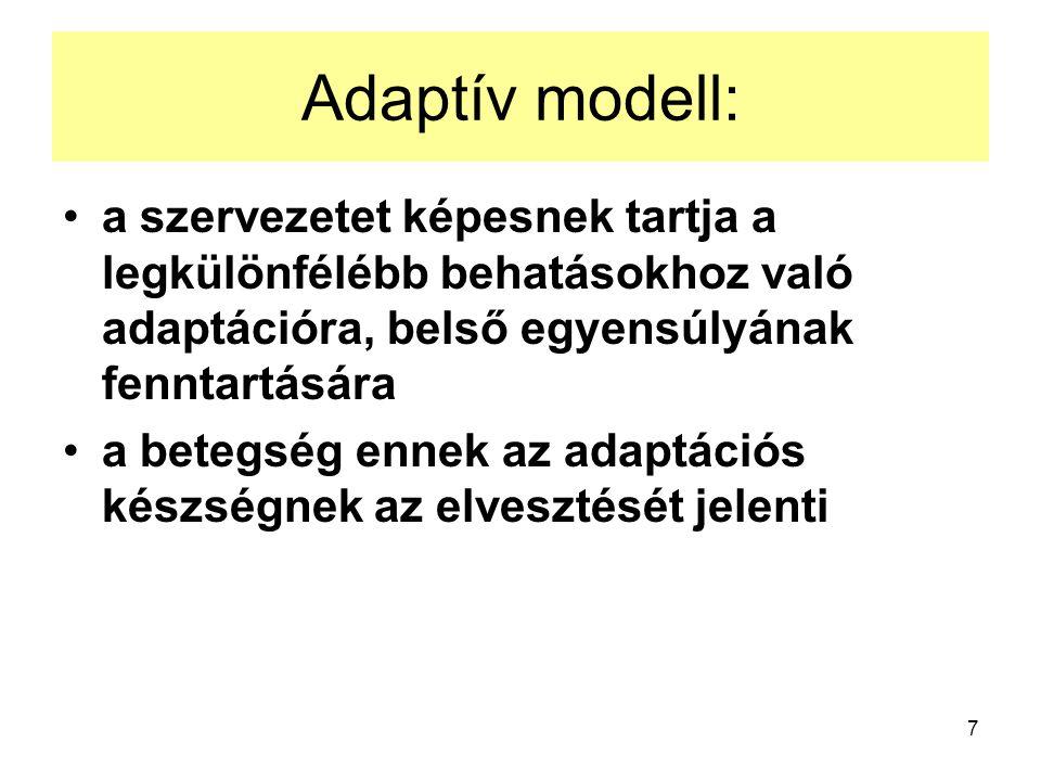 7 Adaptív modell: a szervezetet képesnek tartja a legkülönfélébb behatásokhoz való adaptációra, belső egyensúlyának fenntartására a betegség ennek az adaptációs készségnek az elvesztését jelenti