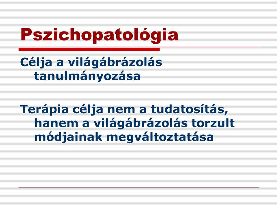 Pszichopatológia Célja a világábrázolás tanulmányozása Terápia célja nem a tudatosítás, hanem a világábrázolás torzult módjainak megváltoztatása