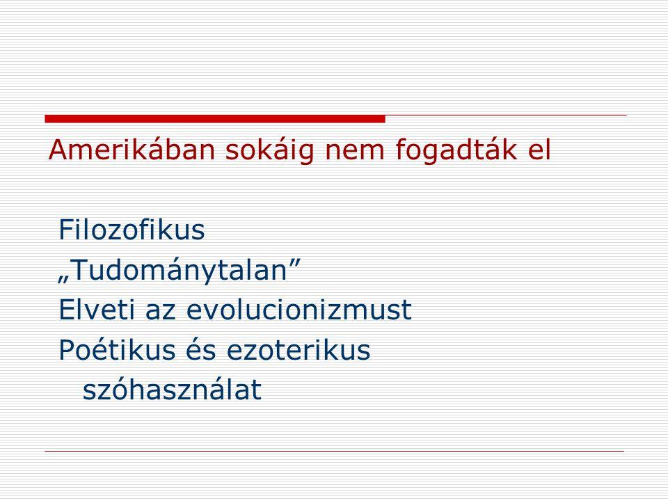 """Amerikában sokáig nem fogadták el Filozofikus """"Tudománytalan"""" Elveti az evolucionizmust Poétikus és ezoterikus szóhasználat"""